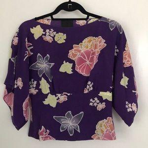 Silk, kimono-inspired top.